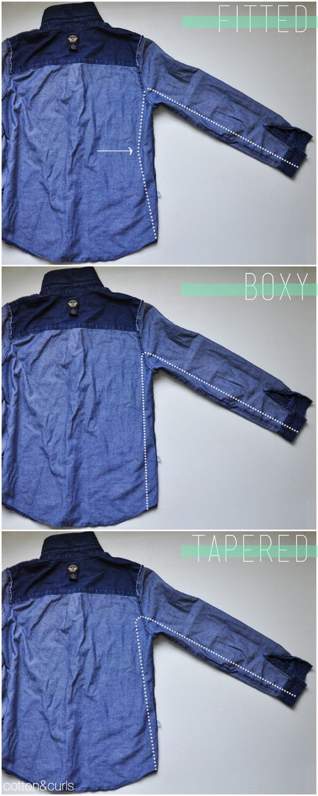 C: 3 ways to revamp a button up shirt  FITTED  BOXY  TAPERED    Instructions:   1. Try on inside out.  2. Mark what needs to be taken in. Use one of pictures below for your guide.  3. Pin flat.  4. Sew along the markings.  5. Cut out excess fabric leaving half inch.  6. Serge raw edges (or use zig zag stitch).  7. Iron.