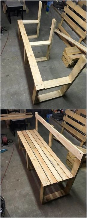 Over this image we are presenting you with the modern and much innovatively designed wood pallet bench structure. It is although simple but the rustic brown hues use over the pallet planks is bringing it closer with charming sort of impressions. Place it in your house without any delay! #palletfurniturebench