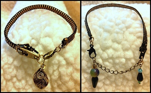 Bracelets created from vintage zippers, beads, and charms.