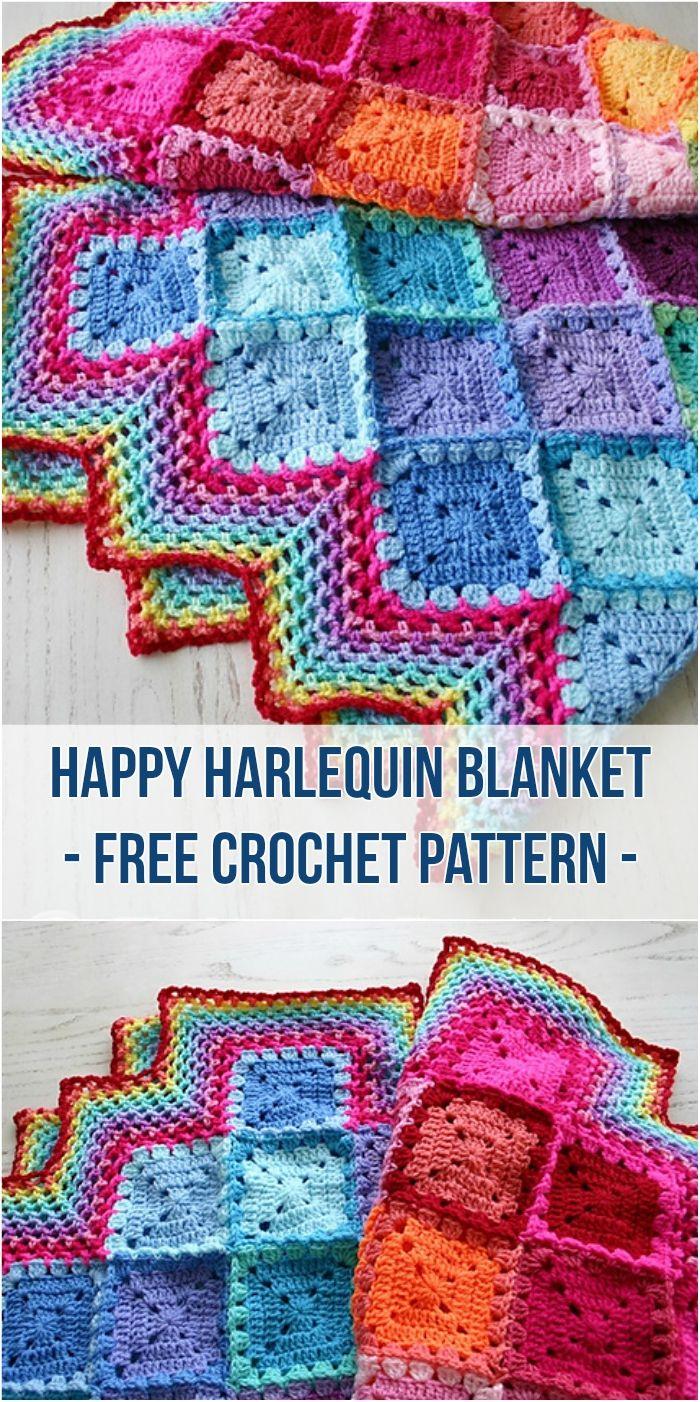 Happy Harlequin Blanket - [Free Crochet Pattern]