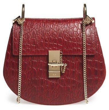 chloe hand bag - Chlo�� \u0026#39;Small Drew\u0026#39; Croc Embossed Calfskin Leather Shoulder Bag ...