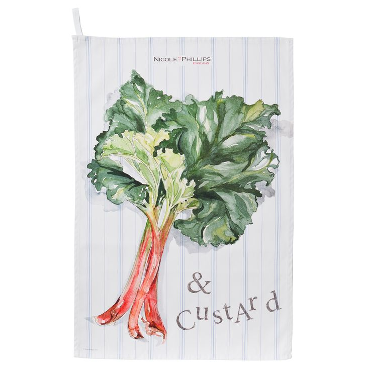 Nicole Phillips England artisan Rhubarb and Custard Tea Towel. Nicole Phillips designs and makes beautiful fine textile ranges that add accents of creativity and colour for your home and kitchen. Designed and made in England to the highest print and quality standards. http://www.nicolephillips.com/collections/tea-towels/products/rhubarb-and-custard-tea-towel #puddings