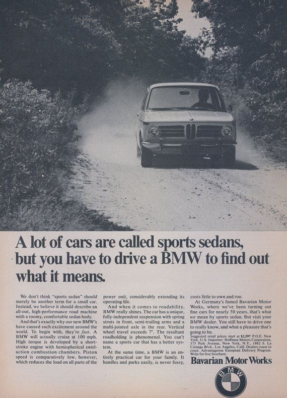 1969 BMW Car Ad Bavarian Motor Works Sports Sedan by AdVintageCom