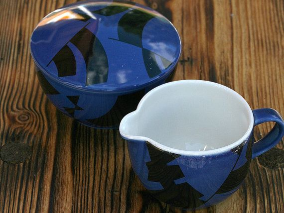 Creamer and sugar bowl with lid, Arabia Domino Combo Finland