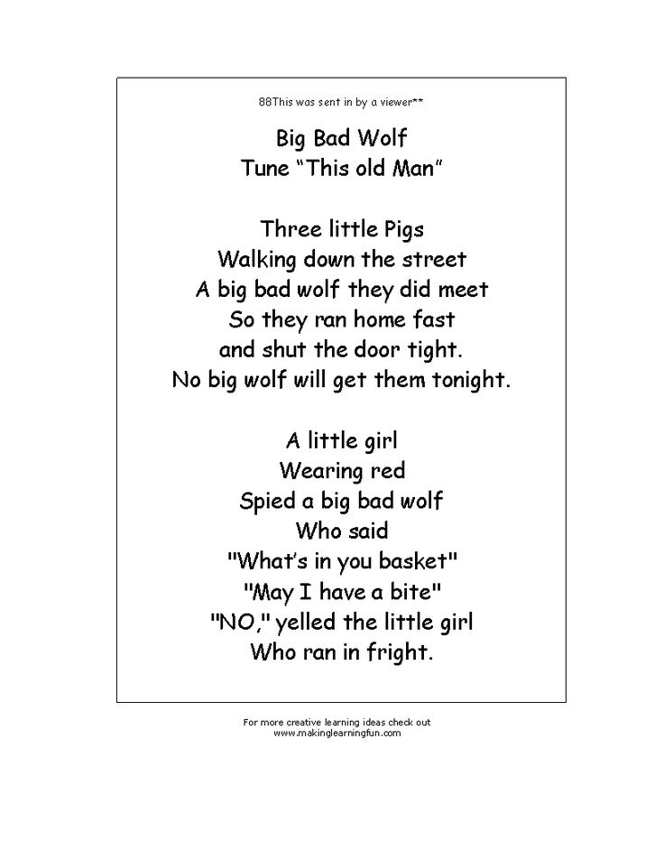 Big Bad Wolf Rhyme from http://www.makinglearningfun.com/t_template.asp?t=http://www.makinglearningfun.com/Activities/FairyTales/3LittlePigs/3PigsRhyme.gif
