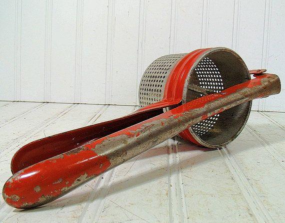 Vintage Red Metal Potato Ricer  Rustic Handy by DivineOrders, $11.00