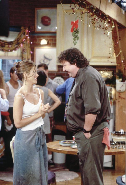 Still of Jennifer Aniston and Mike Hagerty in Friends (1994)
