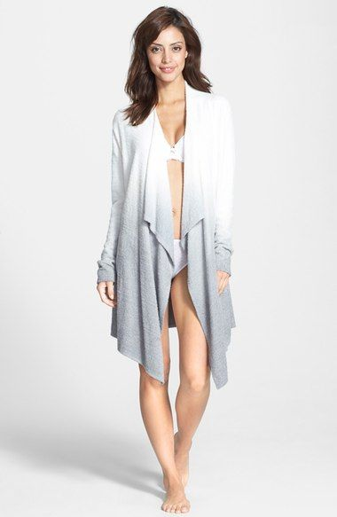 Barefoot Dreams® Drape Front Cardigan (Nordstrom Exclusive) available at #Nordstrom  PEWTER & BLACK OMBRE