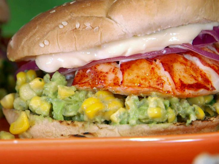 Grilled Lobster Sandwich with Charred Corn and Avocado Salsa recipe from Bobby Flay via Food Network