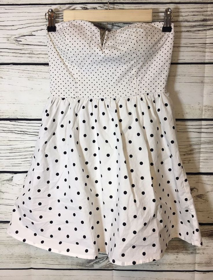 Baily Blue Size Small Black White Polka Dot Dress Strapless A Line Rockabilly #BaileyBlue #Party
