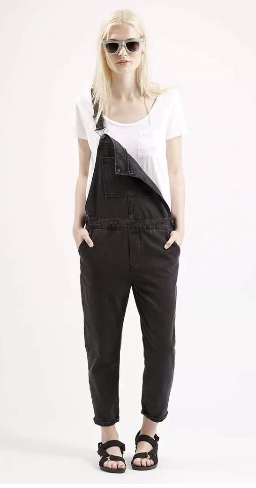 Topshop Moto Black   Denim Dungarees Uk10, Jumpsuit, All In One