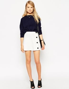 ASOS A Line Skirt With Black Covered Buttons