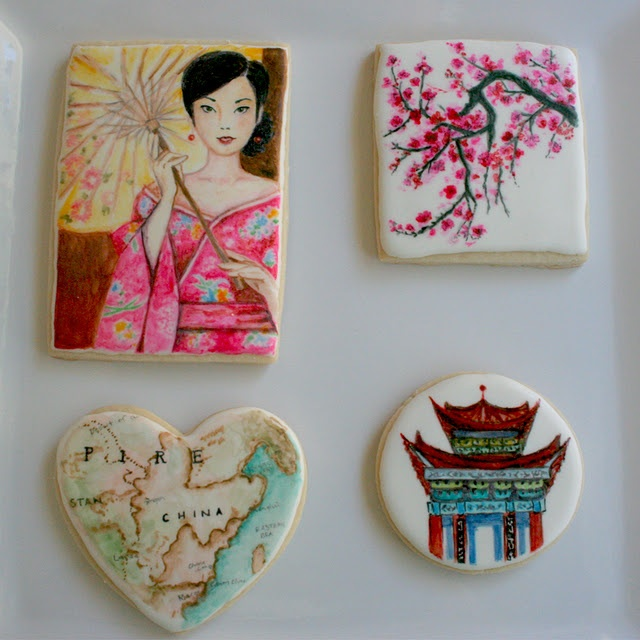 """Arty McGoo's Thoughts on her China inspired painted cookies:  All 4 of these cookies went through what I call an """"ugly phase"""" where I thought NOOOO!  these aren't turning out right!  I'm so glad I kept going instead of getting rid of  scarfing down the evidence because I love what I ended up with.  I have a theory that just about every art project goes through an """"ugly phase"""" and a lot of people don't push through it to get to a great end result"""