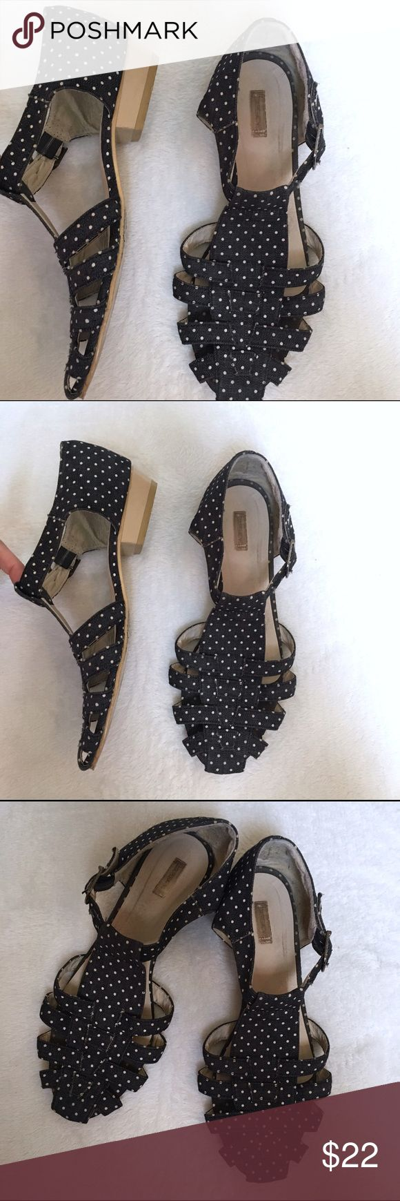Urban Outfitters closed-toe polka dot sandals These polka dot closed-toe sandals from UO brand Cooperative feature a very slight heel. Cute to dress up a plain summer outfit! Urban Outfitters Shoes Sandals