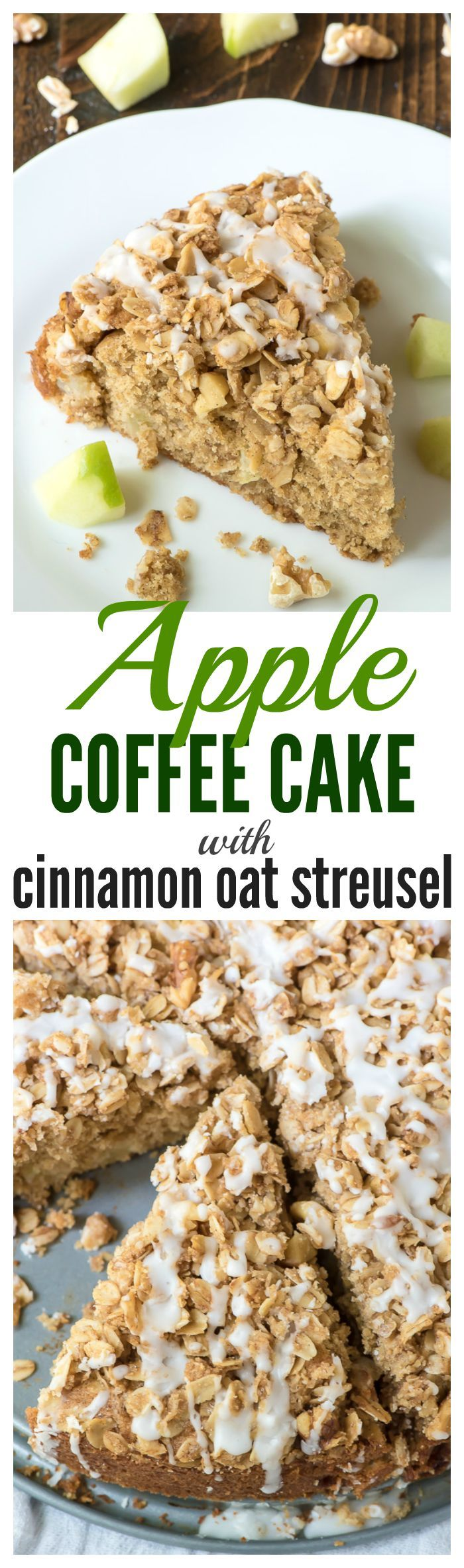 Best Ever Apple Coffee Cake with Cinnamon Oat Streusel Topping. An ultra moist coffee cake with fall spices, fresh apples, and an ADDICTIVE crumb topping.