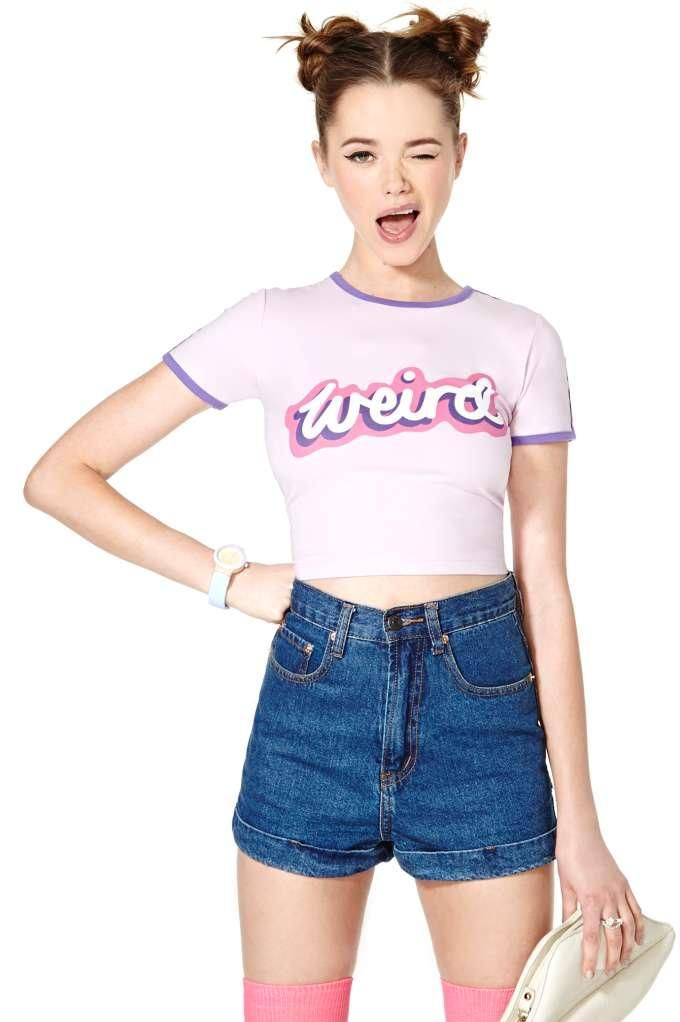 """Lazy Oaf Weirded Out Crop Tee.  Sadly the model I do not feel embodies """"weird"""" which is slightly depressing. Good colours though"""