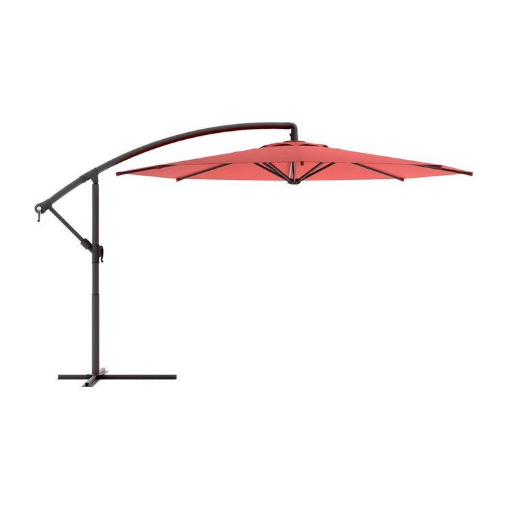Sonax Octagonal Wine Red Offset Patio Umbrella With Crank Common 9 Ft