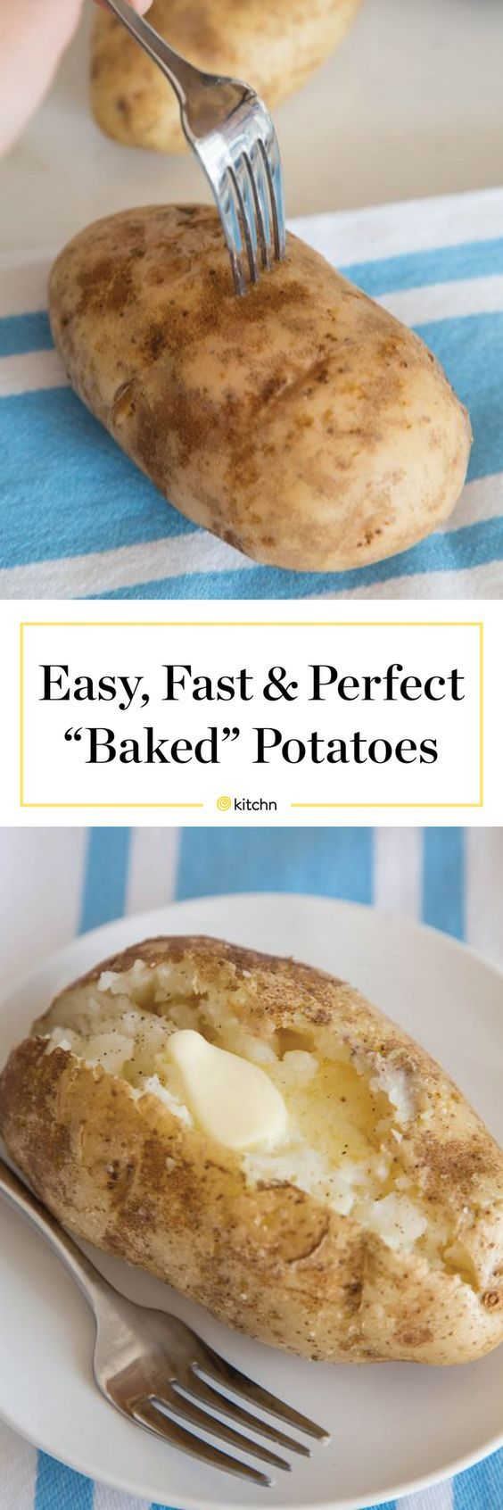 How To Make (better) Baked Potatoes in the Microwave Recipe. It's EASY to bake a potato in the microwave. This healthy side is one of the easiest recipes to make if you're trying the whole30 diet this January. Whole 30 now allows potatoes, so eat up! Tips like this are great for quick and easy weeknight meals and side dishes to get dinner on the table FAST.
