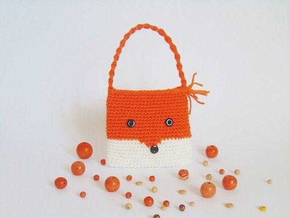 small crochet purse crochet girl crochet fox fox by CrochetKnitt