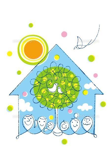 家族2世帯と鳥の親子と家と樹と太陽 (c)Formmart