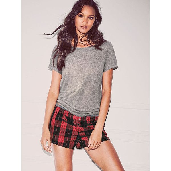 Victoria's Secret The Mayfair Tee & Short Set (£36) ❤ liked on Polyvore featuring intimates, sleepwear, pajamas, pijama, grey, victoria's secret, short sleepwear, short pajamas, short pyjamas and victoria secret pajamas