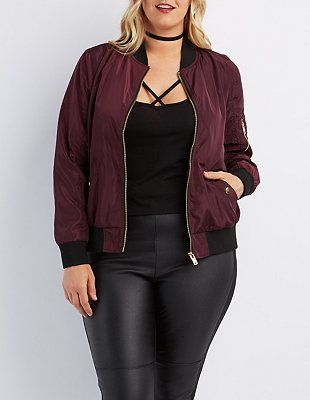 Plus Size Zip-Up Bomber Jacket #CharlotteRussePlus