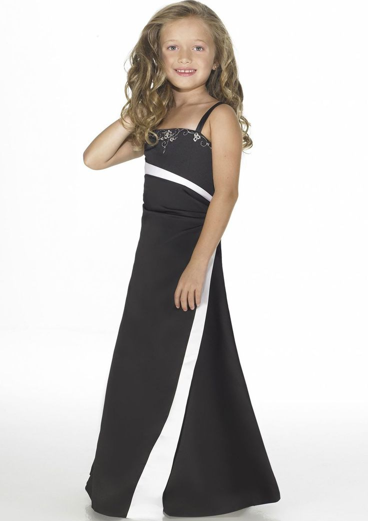 Dark Navy Floor Length Column Spaghetti Strap Junior Bridesmaids Dresses With Embroidery