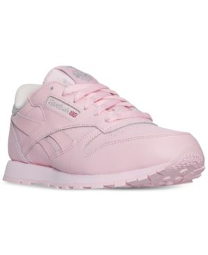 Reebok Girls' Classic Leather Casual Sneakers from Finish Line - LUSTER PINK/SILVER MET 5.5
