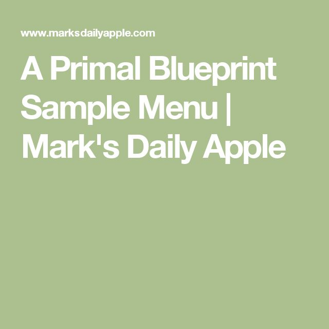 A Primal Blueprint Sample Menu | Mark's Daily Apple