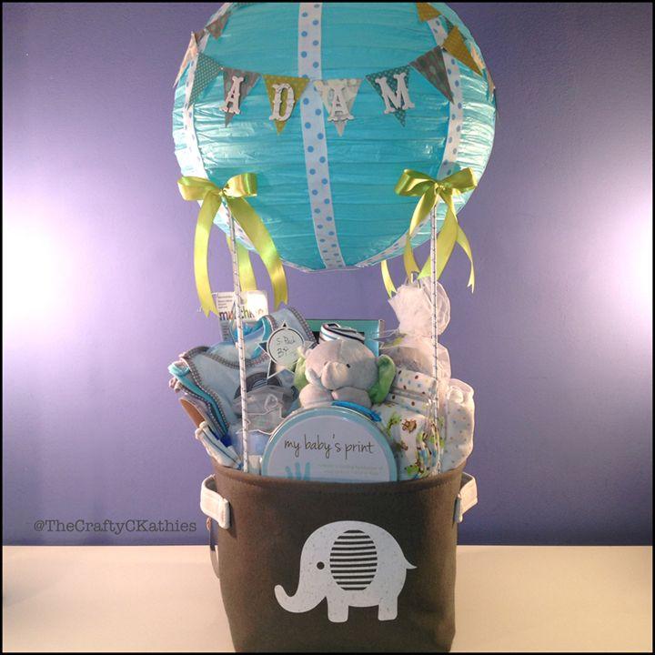 Hot Air Balloon Shower Elephant Themed Gift Basket