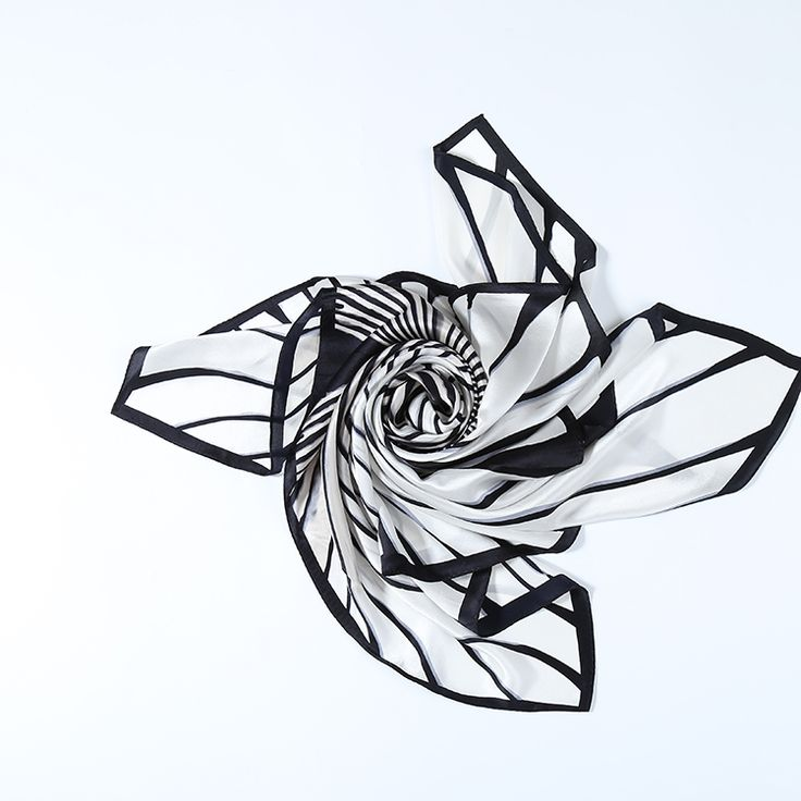 """Extra Large Square Silk Scarf 43x43"""" (110x110cm) Black and White DFL002"""