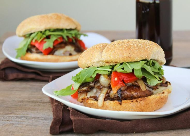 Portabella Mushroom Burgers with Provolone, Caramelized Onions ...