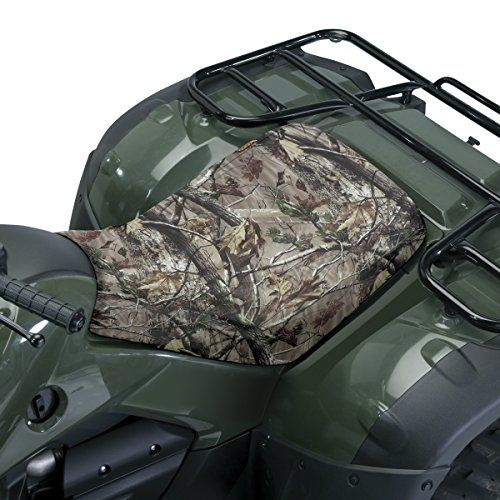 Classic Accessories 15-116-015901-00 QuadGear Camo ATV Seat Cover - This product includes these features: Universal size fits most ATVs, 1 year manufacturer's warranty, Stick and leaf camo print, Protects ATV seat from rain and dirt.
