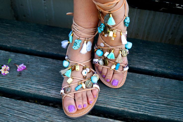 Genuine leather Tie Up ethnic sandals with turquoise Semiprecious stones gold plated pounds & tassels by MabuByMariaBk on Etsy https://www.etsy.com/listing/239399249/genuine-leather-tie-up-ethnic-sandals