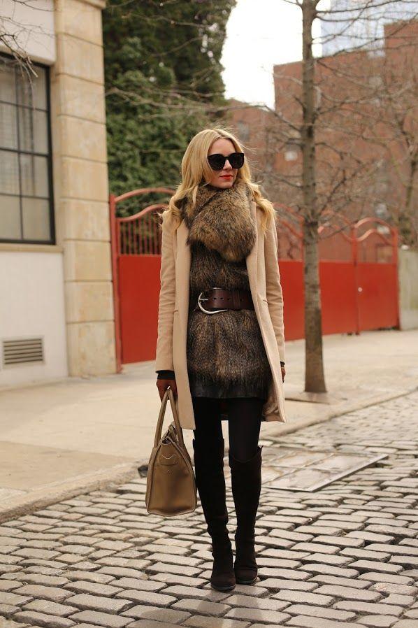 Leather Dress: Gap (old but similar here). Faux Fur Vest: Rachel Roy (old). Tights: Club Monaco. Boots: Stuart Weitzman 50/50 (last seen here). Purse: Celine. Jacket: Zara. Faux Fur Shawl: H Sunglasses: Karen Walker 'Super Duper'. Gloves: Gucci. Belt: Ralph Lauren. Lips: Make Up For Ever #40.