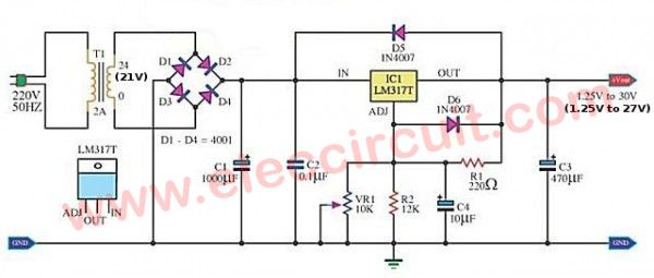 My First Variable Power Supply Using Lm317 Eleccircuit Power Supply Circuit Power Supply Electronic Schematics
