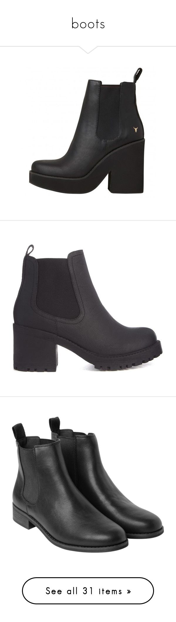 """""""boots"""" by sinyukovayulya ❤ liked on Polyvore featuring shoes, boots, ankle booties, beatle boots, thick heel booties, chelsea ankle boots, chelsea boots, high heel ankle booties, black and ankle boots"""