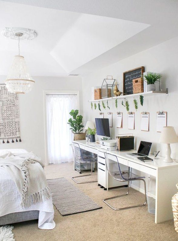 Home Office In Bedroom Setup - Ikea Furniture And Green ! #bedroomfurniture innenministerium in … | Bedroom setup, Home office bedroom, Office furniture arrangement