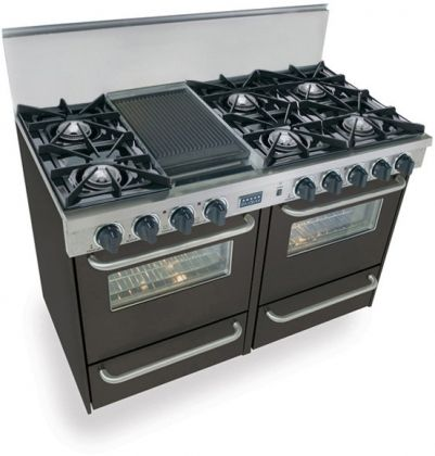 """Images of FiveStar TTN-510-7W 48"""" Freestanding Gas-Natural Gas Range With 6 Open Burners, 2.92 Cu. Ft. Manual Clean Oven, Broiler Drawer, Double Sided Grill/Griddle, Vari-Flame Simmer, In Black 