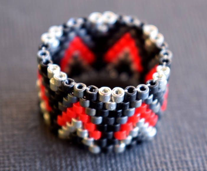Black,red and silver beaded ring , Beaded Ring , Peyote Stitch , Delica Beads , Gift for her , Festival Ring , Handmade Beaded Ring