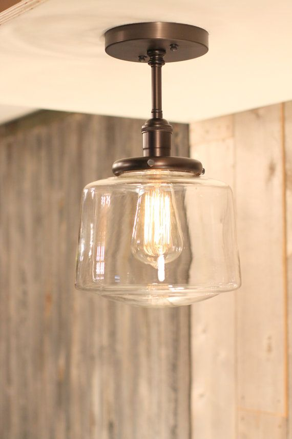 Downrod Pendant Lighting with Clear Taper Globe Drum Style Shade