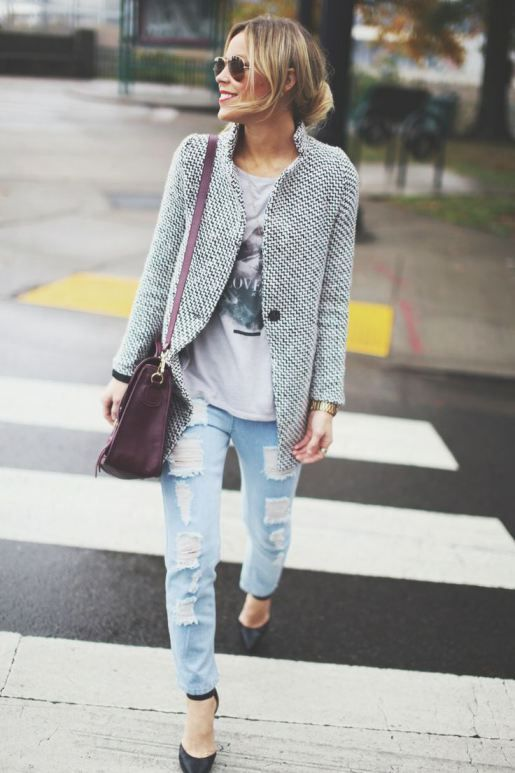street style - distressed boyfriend jeans, heels, graphic t-shirt, chanel-inspired tweed jacket