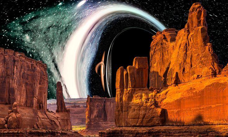 Svět u supermasivní černé díry. Kredit: P. Bakala / Ústav fyziky FPF SLU.