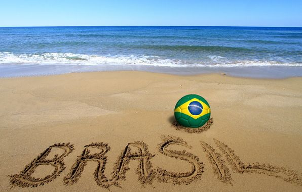 Wallpaper brasil, fifa, world cup, 2014, football, flag, beach, sand, football wallpapers nature - download