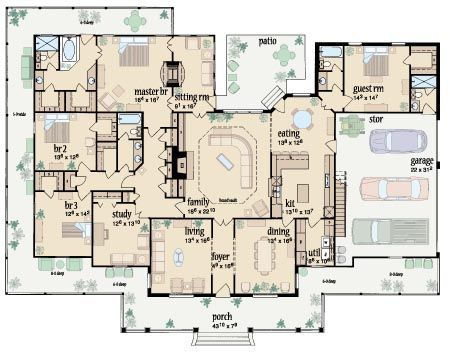 Floor plan for ranch style home with wrap around porch.