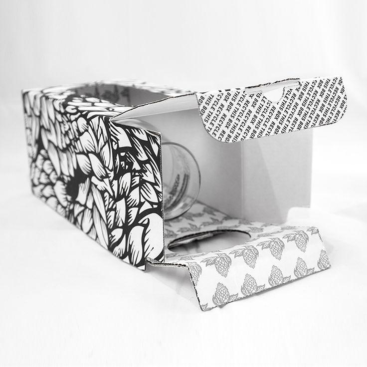 White gift box with bold black hop design holds Bier Sommelier glass