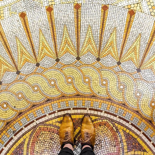75009 - Boulevard Haussmann Another beautiful mosaic floor of the ancient building of @societegenerale. ...