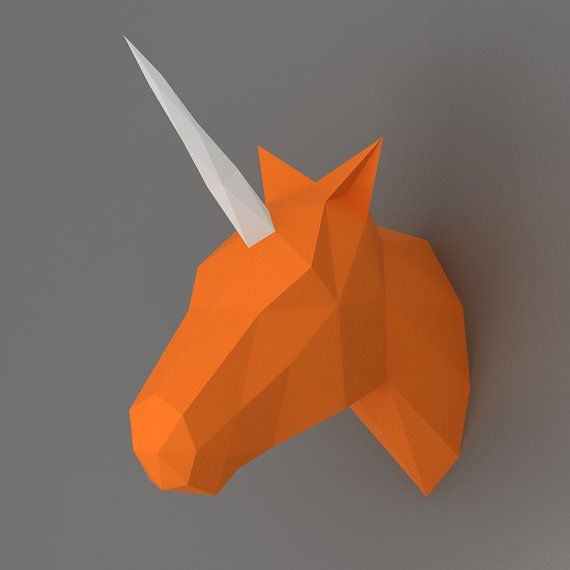 Unicornio - modelo de papercraft 3D. Plantilla descargable de DIY