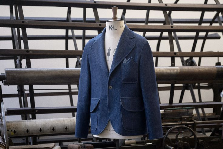 Rop-dyed indigo one-button blazer at the one-man-mill.