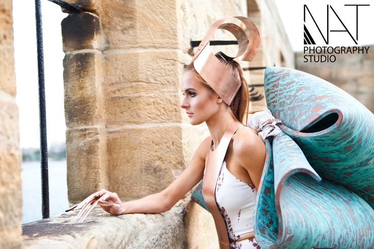 The avant garde Kairos look, including copper headpiece and patinated wings.  Model - Indeya Passfield Photography - Nancy Trieu